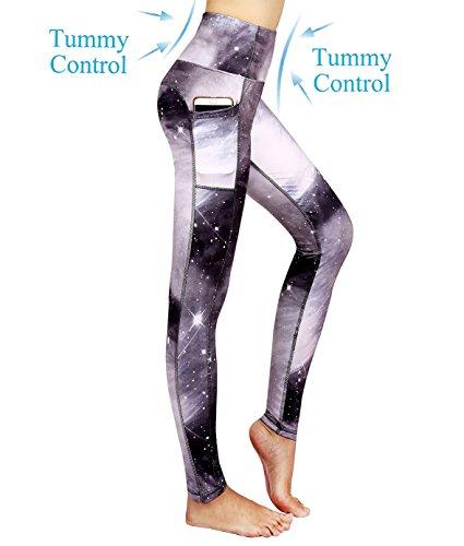 Munvot Schön Galaxy Printed Sport Leggings Damen Blickdichte Leggins Training Tights Hohe Taille Strumpfhose Bunt Leggins für damen mit Tasche Silber Grau S
