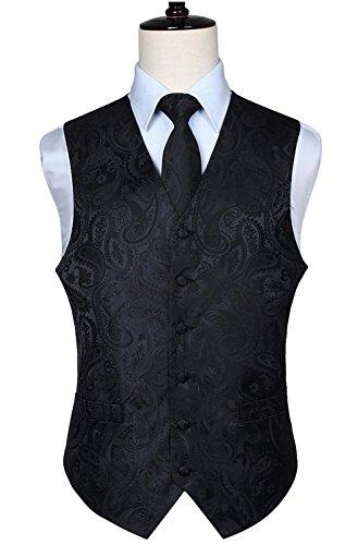 Hisdern Manner Paisley Floral Jacquard Weste & Krawatte und Einstecktuch Weste Anzug Set