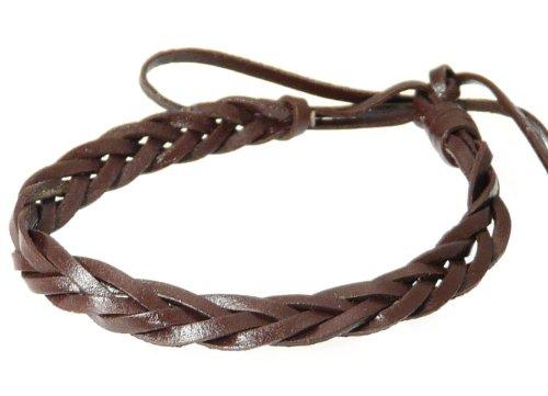 Cuero real trenzada pulsera pulsera - marrón oscuro