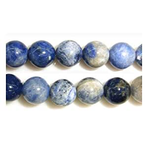 Strang 45+ Blau Sodalith 8mm Rund Perlen - (GS1654-3) - Charming Beads