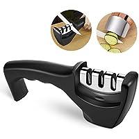 AJOXEL Afilador de Cuchillos Profesional, 3 Pasos Sistema Manual de Cocina, Esmeril, Acero de Tungsteno y Cerámica para Cuchillos Domésticos de Varios Tamaños Afiladores Manuales, Protección de Dedos Extra
