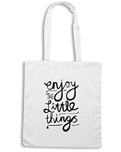 T-Shirtshock - Borsa Shopping ENJOY0089 Enjoy The Little Things Bianco