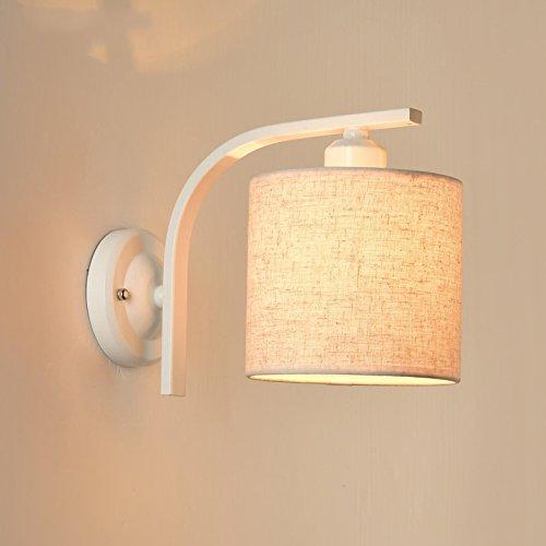 Hjhy® nord europa scale dell'hotel soggiorno camera da letto luce a muro navata laterale balcone lampada da parete minimalista led lampada da comodino moderna fácil de limpiar (colore : bianca)
