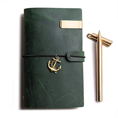 Travelers Notebook | Tagebuch Leder, 6-Ring Vintage Notizbuch & Notizbücher & Zeitschriften Personal Organizer ( Grün, A6)
