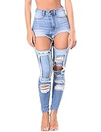 Yiiquan Femme Jeans Pantalon Trou Déchiré Maigre Boyfriend Skinny Slim Jeans