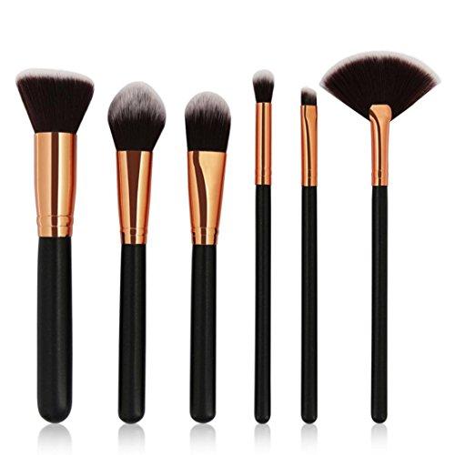 HUHU833 Pinceaux Maquillage Cosmétique Professionnel 6pcs Cosmétique Brush Beauté Maquillage Brosse Makeup Brushes Set Outils (Noir)