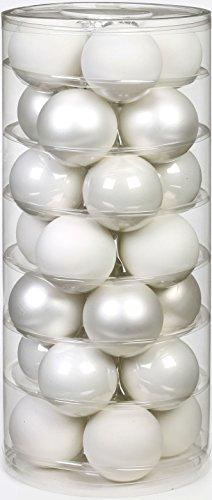 Inge Glas 15112D002 - Bolas para árbol de Navidad (45 mm, 28 unidades), color blanco