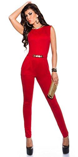 Eleganter KouCla Overall mit Goldschnalle in versch. Farben & Größen - Jumpsuit Rückenfrei (K6721) Rot