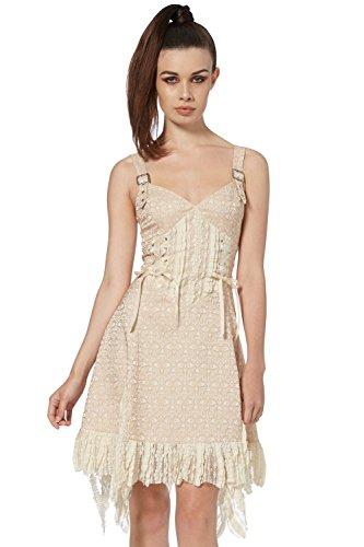Jawbreaker Damen Neckholder Kleid Cremefarben