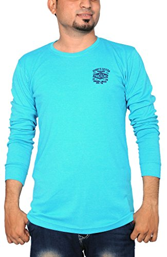 Henry Cotton Men's Round Neck Full Sleeve Cotton T Shirt ( Turquoise_XXL)  available at amazon for Rs.499