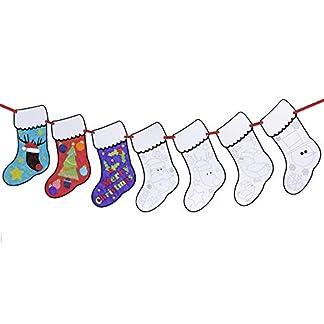 Neviti – Guirnalda de Navidad con Calcetines para Colorear, Negro/Blanco
