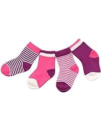 DEBAIJIA 4 Paires Chaussettes Bébé Fille Garçon Coton Respirant Enfants 0-3 Ans Couleurs Mélangées