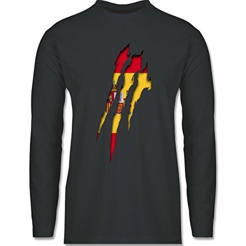 Shirtracer Länder - Spanien Krallenspuren - Herren Langarmshirt Dunkelgrau