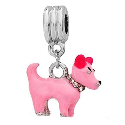 Sexy Sparkles Damen Wunderschöne 3D Emaille Hund w/Farbe Rhein Halsband baumeln Charme für Schlange Kette Armband (Halsband Schlange Hund Kette)