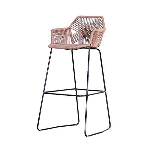 Taburetes de Bar Silla de Comedor Metal + Woven Rattan Kitchen Breakfast Pub Lounge Chair Respaldo reposapiés Apoyabrazos Balcón