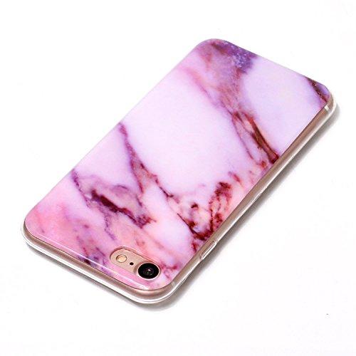 Custodia iPhone 7, ISAKEN Cover per Apple iPhone 7 [TPU Shock-Absorption] - Marmo Modello Naturale Custodia Soft TPU Sottile Custodia Case Morbido Protettiva Bumper Caso, Viola Viola