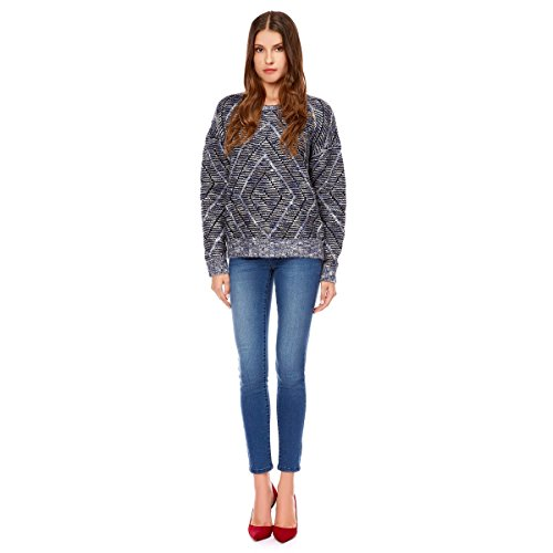 Pull col rond maille fantaisie Bleu