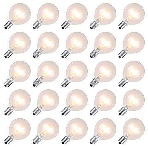 Ersatz Leuchtmittel für G40 Globe Lichterkette, transparent, glas, led, warme weiße (Glas Globe Lichterketten)