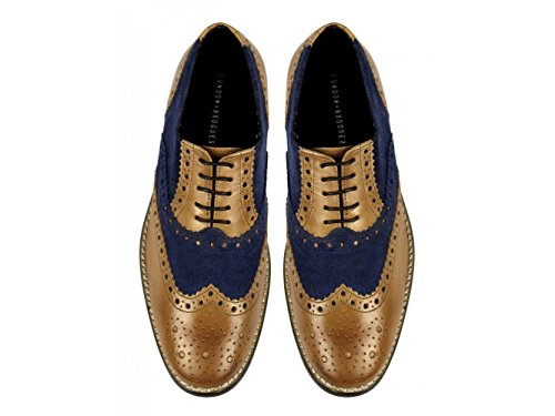 Scarpe Brogue London, Scarpe Brogues Da Uomo Marrone / Blu Navy