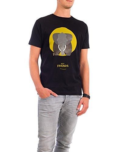 """Design T-Shirt Männer Continental Cotton """"Beste Freunde I"""" - stylisches Shirt Tiere Kindermotive von Pia Kolle Schwarz"""