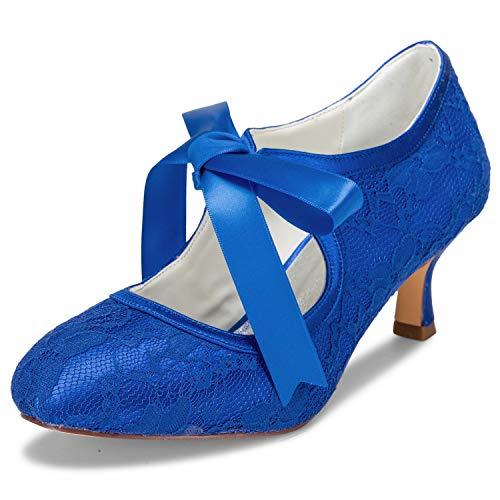 JIA JIA 14031 Hochzeitsschuhe Brautschuhe Spitze Damen Pumps Farbe Blau,Größe 39 EU