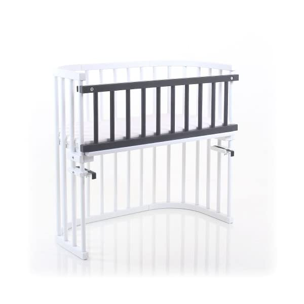 Babybay Guardrail for bedside sleeper Cot, Grey Varnished babybay Interlocking grate for cot bed Attaches quickly and easily Safe 2