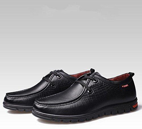 GRRONG Chaussures En Cuir Pour Homme En Cuir De Vache Loisirs Noir Brun Jaune Black