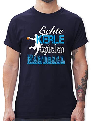 Handball - Echte Kerle Spielen Handball weiß - XL - Navy Blau - L190 - Tshirt Herren und Männer T-Shirts