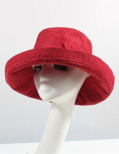 Chapeau de soleil d'été Été féminin Chapeau d'été Boucle en bois Pliable chapeau de soleil Anti-UV Grandes corniches Crème solaire chapeau de soleil Pour les voyages de plage sortants ( Couleur : 9 ) 5