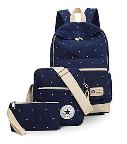 Mode Punkt-Muster-Segeltuch-Rucksack Teenager Schultasche 14,6 Zoll Laptop-Rucksack + Messenger Bag + Purse (Dunkelblau)