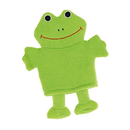 Bieco 04004088 Waschhandschuh Frosch, grüner Handschuh zum Waschen, Waschlappen für Babys und Kleinkinder ab 0m+, grün, 30 g