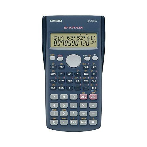 CASIO FX-82MS wissenschaftlicher Taschenrechner/Schulrechner zweizeilig mit 240 Funktionen, Batteriebetrieb,farbe dunkelgrau