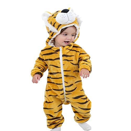 Baby Overall Strampler Pyjama Onesie Kostüm Unisex Jumpsuit mit Kapuze Flanell Strampelanzug Spielanzug Langarm Cartoon Romper für Baby Neugeborenen Mädchen Jungen Herbst Winter Frühling(Tiger,90)