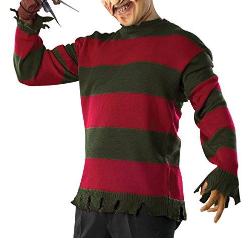 Freddy Krüger Deluxe Sweatshirt Herren Kostüm Halloween Nightmare Elm Gr XS - XL, Größe:L