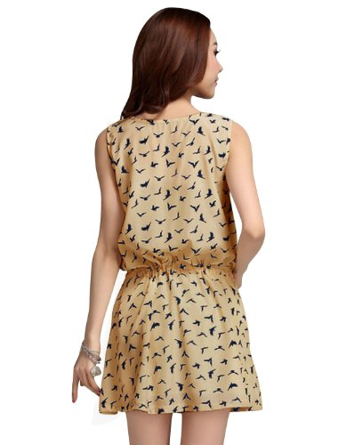 sourcingmap Femmes Sans Manche Col Rond Hirondelle Impressions Taille Haute Tie&dye Mini Robe Patineuse Beige