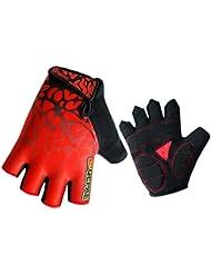 Panegy - Guantes Dedos Medios de Deportes para Ciclismo Fitness Entrenamiento Antideslizantes Transpirable para Hombre Mujer - Talla XXL - Rojo