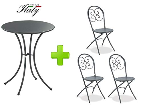 Emu Table pour extérieur Pigalle Kiss diamètre 60 cm + 3 Chaise pighevole Pigalle 924 - en Fer zingué et Verni à poussières - Couleur Fer Ancien Fantaisie 22 - Produit fabriqué en Italie