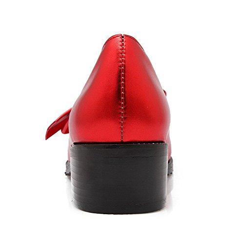AllhqFashion Damen Ziehen Auf Mittler Absatz Pu Leder Rein Spitz Zehe Pumps Schuhe Rot