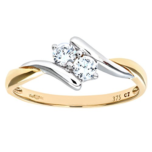 Citerna Damen-Ring 9 Karat (375) Gelbgold Gr. 58 (18.5)  19 Diamanten