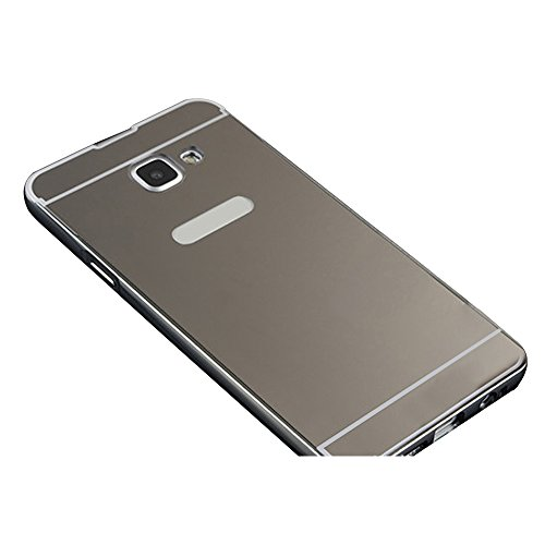 Skitic Custodia Metal Mirror Case per Samsung Galaxy A5 (2016), Lusso Ultra Sottile Alluminio Metallo Frame Specchio Back 2 in 1 Cover Resistente Ammortizzante Scratch Protettiva Caso con PC Dura Posteriore Copertura - Nero