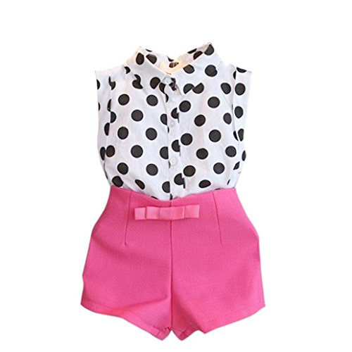 For 3-8 years old,Clode®Fashion Girls Polka Dot T-shirt Tops And Pink Bowknot Pants Shorts Two Pieces Set (100/Age:3-4Y)