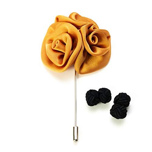 Hersteller: Bull & Drake Set 1x Blumen Brosche 1 Paar Seidenknoten Manschettenköpfe gold, schwarz