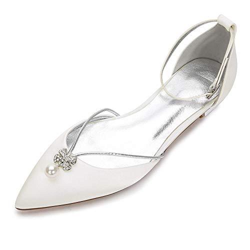 Zxstz scarpe da donna pizzo comfort ballerina scarpe da sposa tacco piatto punta tonda strass fiore di raso scintillante, avorio, 39
