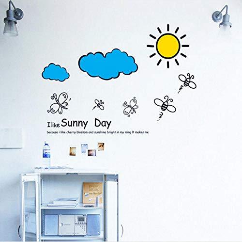 Qzheng Cartoon Ich Mag Sonnige Tage Wandaufkleber Kinderzimmer Warme Dekoration Schlafzimmer Dekoration Aufkleber Wandkunst Aufkleber 60 * 85 Cm