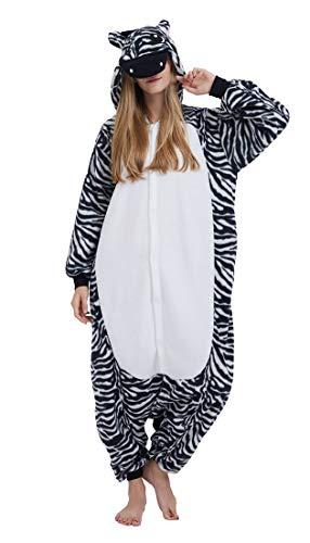 SAMGU Einhorn Adult Pyjama Cosplay Tier Onesie Body Nachtwäsche Kleid Overall Animal Sleepwear Erwachsene Zebra XL