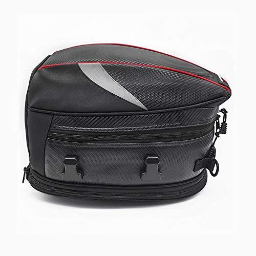 WOSAWE Motorrad-Hecktasche Erweiterbar PU Leder Fahrrad Gepäck Rücksitz Helm Taschemit Wasserdichtem Überzug und Tragegurt Schwarz