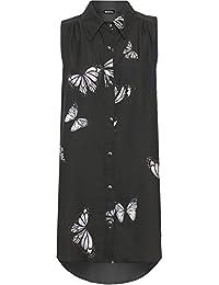 WEARALL Damen Plus Tauchen Saum Hemd Damen Schmetterling Druck Hi Lo Ärmellos Lang Top - 42-56