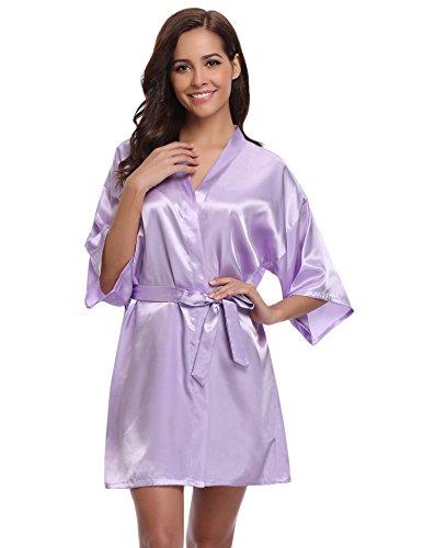 Aibrou Damen Kimono Morgenmantel Bademantel Kurz Schlafanzug Nachtwäsche Satin V Ausschnitt mit Gürtel (M, Helllila)