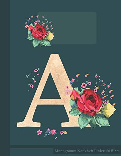 A Monogramm Notizheft Liniert 60 Blatt: Aquarell Rose Monogramm Rose
