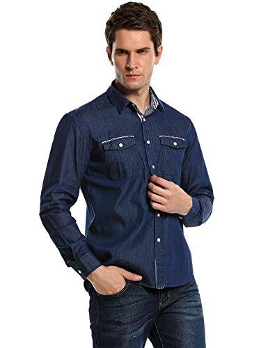 Burlady Jeanshemden Herren Langarm Denim Hemden Freizeit Shirts Regular Fit Hemden (M, Blau-43)